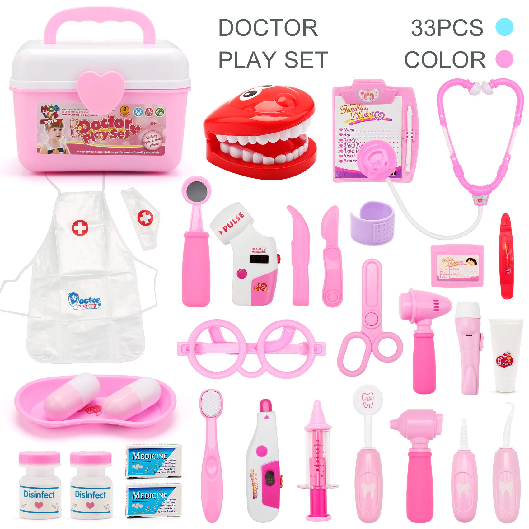 Toy Doctor Kit (33 Pcs) Pretend Play Set for Kids, Doctor Medical Kit and Dentist Medical Kit, with Dress-up Apron Coat, Best Kids Gifts Doctor Toys for Boys & Girls - Blue/Pink Color by MOBIUS Toys