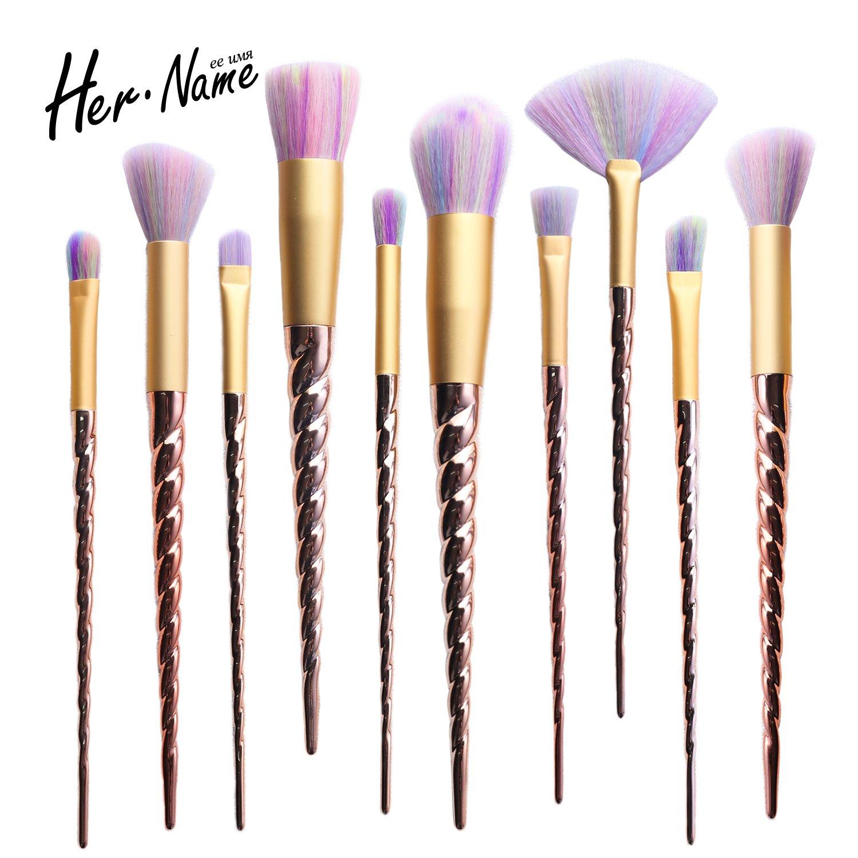 HER NAME Unicorn Makeup Brushes Set , Unicorn Brushes Gifts brushes for  makeup eye face
