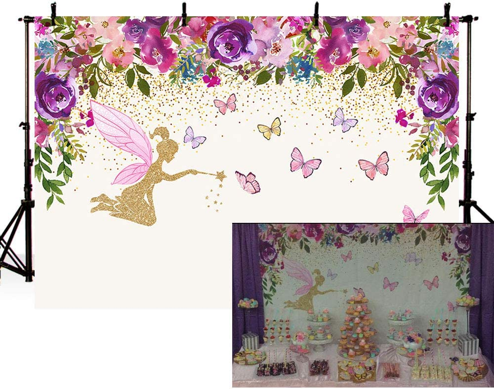 MEHOFOTO Fairy Princess Birthday Party Photo Studio Booth Backgrounds Pink Purple Flowers Fairy Baby Shower Butterfly Girl Photography Backdrop Banner 7x5ft
