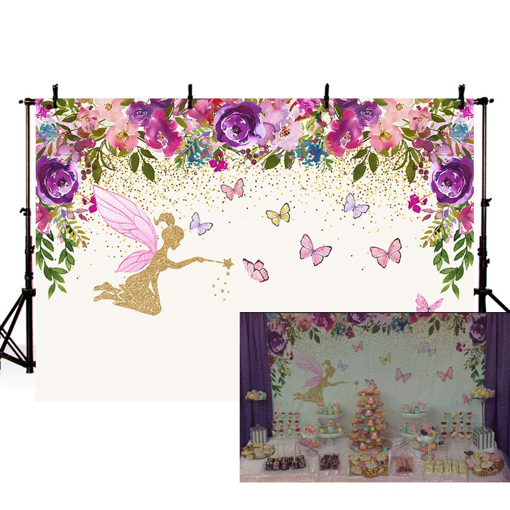 MEHOFOTO Spring Fairy Princess Birthday Party Photo Studio Booth Backgrounds Tinkerbell Pink Purple Flowers Fairy Baby Shower Butterfly Girl Photography Backdrop Banner 7x5ft