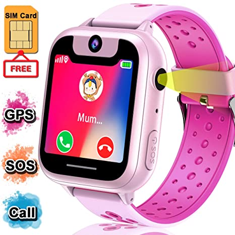 【FREE SIM CARD】Kids Smart Watch for Girls Boys, Kids Smartwatch GPS Tracker Anti-Lost Digital Watch HD Full Touch Screen Game Watch with Camera SOS ...