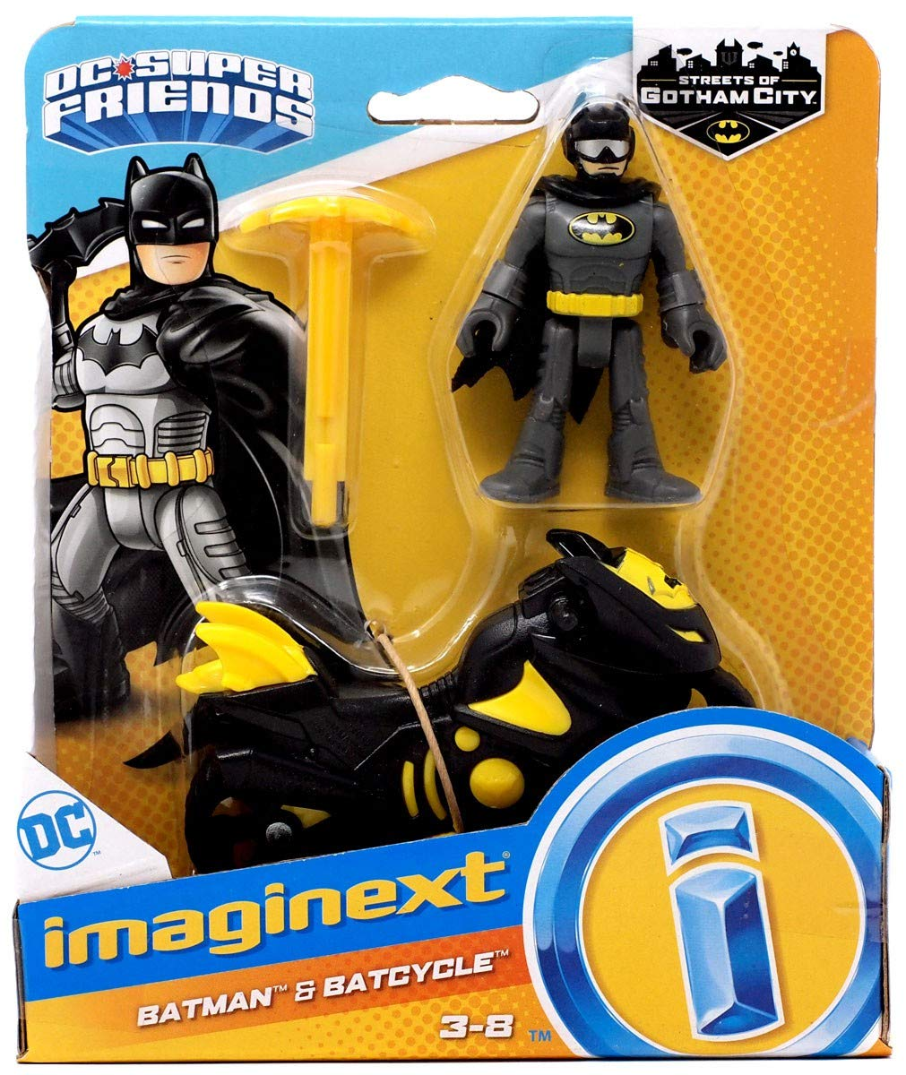 Imaginext DC Super Friends Batman /& Batcycle Toy Figure Set