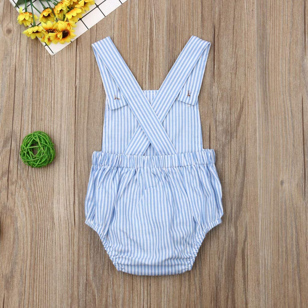 Weilov Summer Toddler Baby Kids Girls Boys Sleeveless Jumpsuit Solid Color Stripe Romper Childrens Button Clothes Casual Jumpsuit
