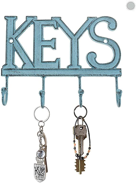 Black, Dog and Home 11 inch with 4 Key Hooks Organizer for car or House Keys UptoBillions Decorative Wall Mounted Iron Key Holder Key Rack with Screws and Anchors