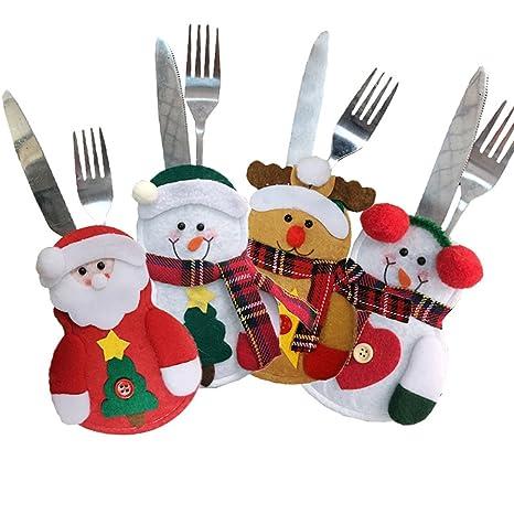 Eastever 4 Piezas de Navidad Cuchillo y Tenedor Conjunto de Bolsas de Vajilla, Los Bolsillos