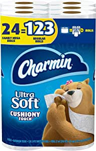 Charmin Ultra Soft Cushiony Touch Toilet Paper, 24 Family Mega Rolls = 123 Regular Rolls