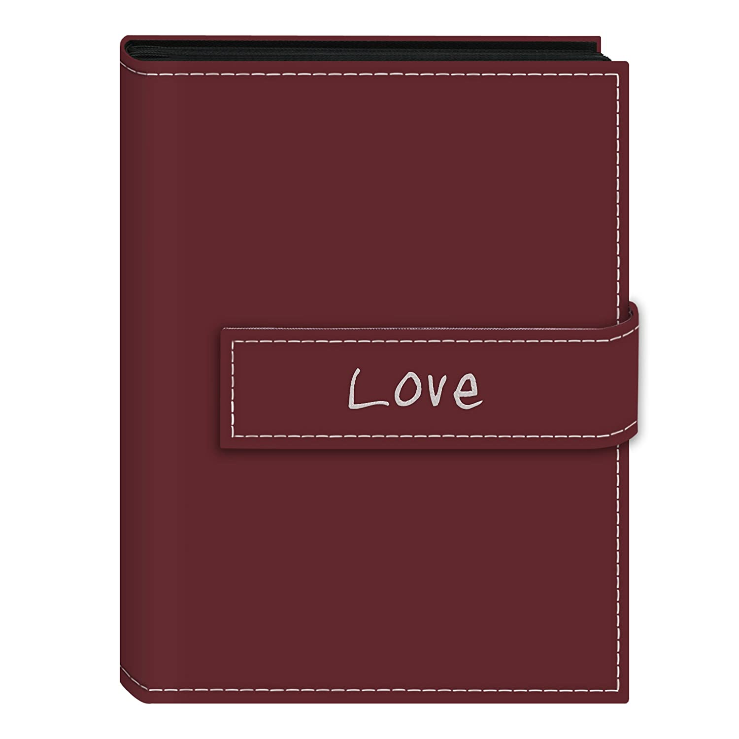 Pioneer Photo Albums 36-Pocket 5 by 7-Inch Embroidered Love Strap Sewn Leatherette Cover Photo Album, Mini, Burgundy EXP-57/BL
