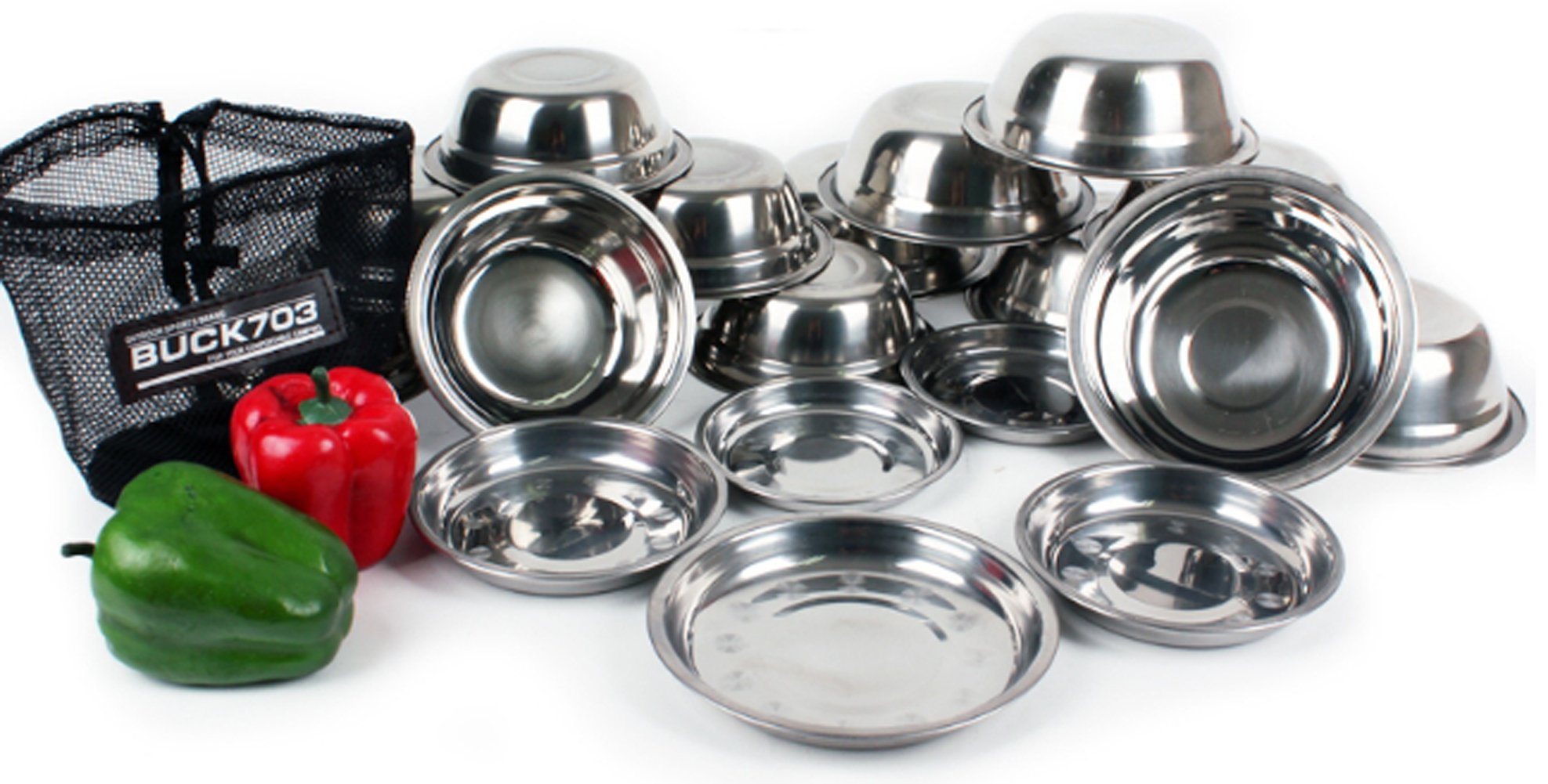 BUCK703 Stainless Steel Outdoor Camping Tableware 19P Bowl(S) 7EA Bowl(L)7 Plate Dishes 5EA