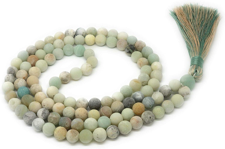 Givereldi Piedra Preciosa collar de cuentas de mala pulsera de 108 cuentas de 8 mm de ancho - sentados espalda con espalda más 1 cuenta de gran gurú - collar de oración, meditación o borla