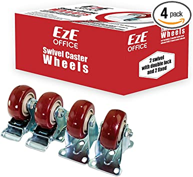 """4 New Solid Fixed Plate Non-Swivel 4-1//4/"""" x 1-1//4/""""  Wheel Caster  Hard Rubber"""