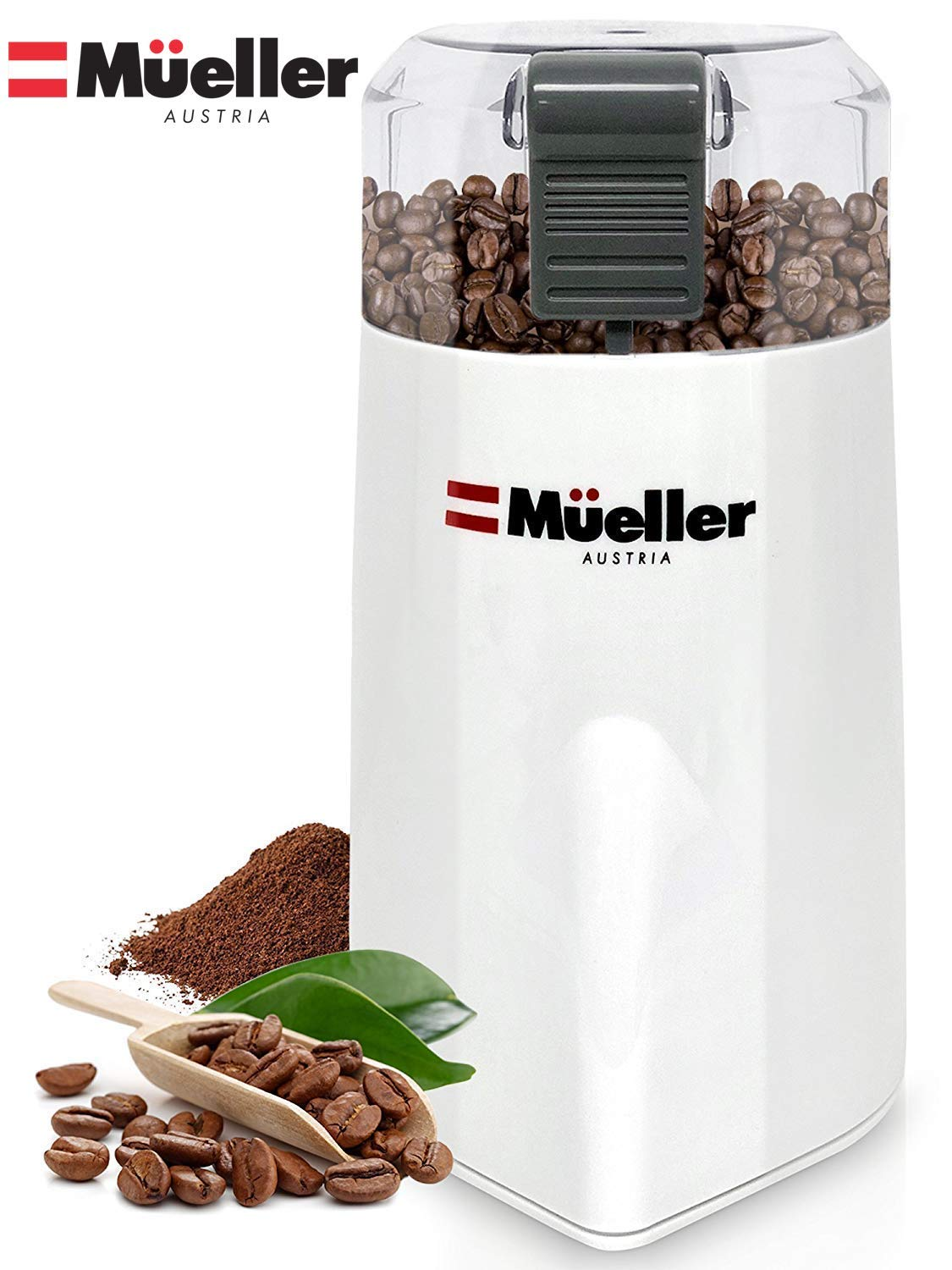 Mueller Austria HyperGrind Precision Electric Coffee Grinder Mill with Large Grinding Capacity and HD Motor also for Spices, Herbs, Nuts, Grains and More and More, White by Mueller Austria