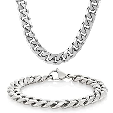 Eyesworld Edelstahl Weizenkette Halskette für Männer Frauen Halskette Armband Schmuck Set 10mm in Breite, Armband 8,5