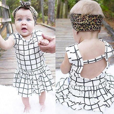 RETUROM-Ropa Ropa Para niñas, RETUROM 2pcs bebé infantil bebé niñas estampado a cuadros ropa Tops + faldas trajes conjuntos: Amazon.es: Ropa y accesorios