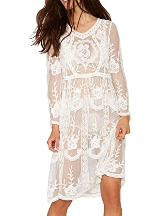 bd4f9d7247 L-Peach Women's White Lace Floral Mesh Sheer Long Sleeves Beachwear Bikini Cover  Up Dress: Amazon.co.uk: Clothing