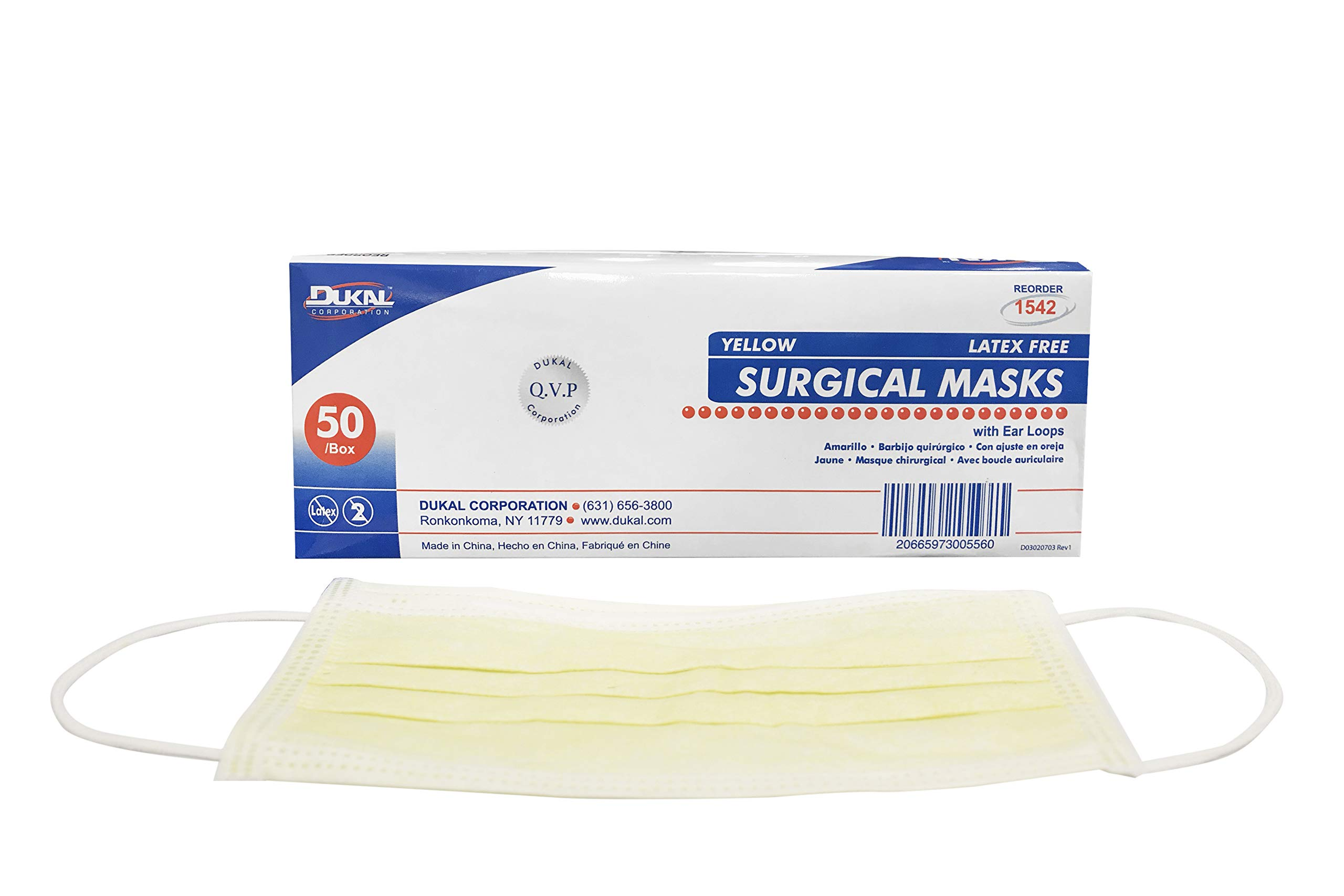 Dukal 1542 Mask, Surgical, with Ear Loop, Non Sterile, Yellow (Pack of 300)