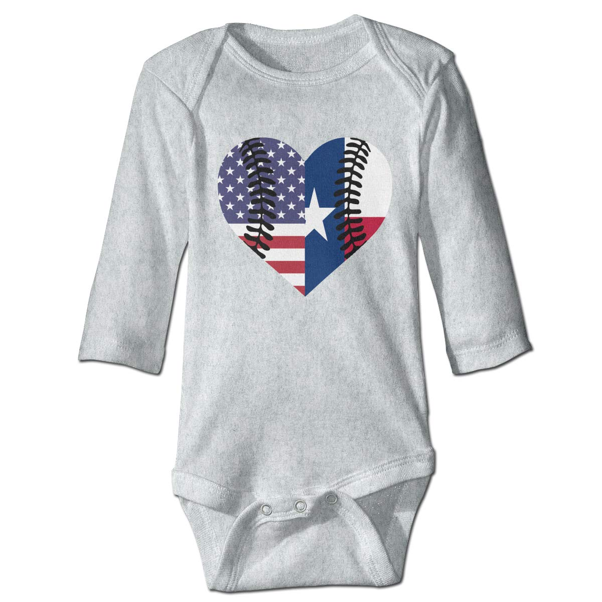 A14UBP Infant Baby Girls Long Sleeve Romper Bodysuit Texas USA Flag Half Baseball Unisex Button Playsuit Outfit Clothes