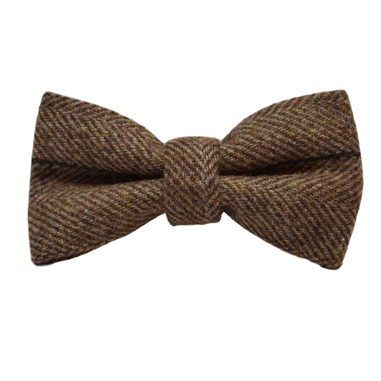 Luxury Peanut Brown Herringbone Check Bow Tie Tweed