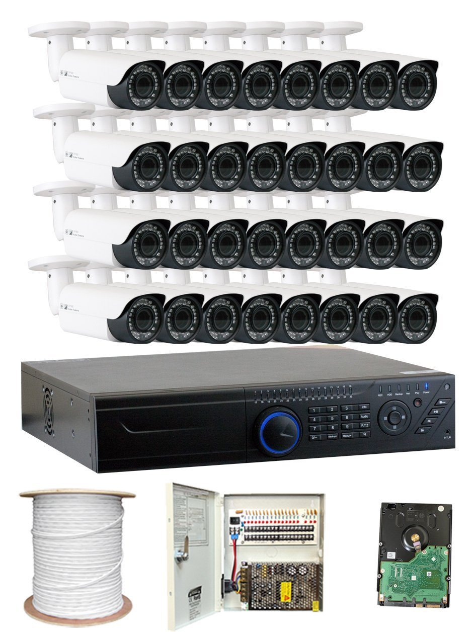 GW Security 2.1MP HD-TVI 1080P Complete Security System | (32) x 2.1MP HDTVI (True HD 1080P) Outdoor 2.8-12mm Varifocal Zoom Bullet Security Cameras, 32-Channel Plug and Play DVR, 8TB Hard Drive
