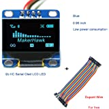 I2c IIC Serial Oled LCD LED Blue Display Module 0.96 Inch 128 * 64 for Arduino and 40pcs Dupont Wire 20CM 40-Pin Female to Female by MakerHawk