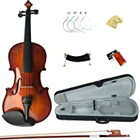 Esound 1/8 MB2 Solid Wood Satin Antique Violin with Hard Case, Shoulder Rest, Bow, Rosin and Extra Strings