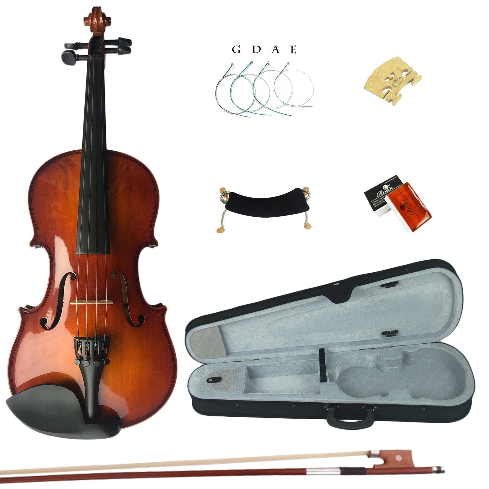 Esound 4/4 MB2 Solid Wood Satin Antique Violin with Hard Case, Shoulder Rest, Bow, Rosin and Extra Strings (Full Size)