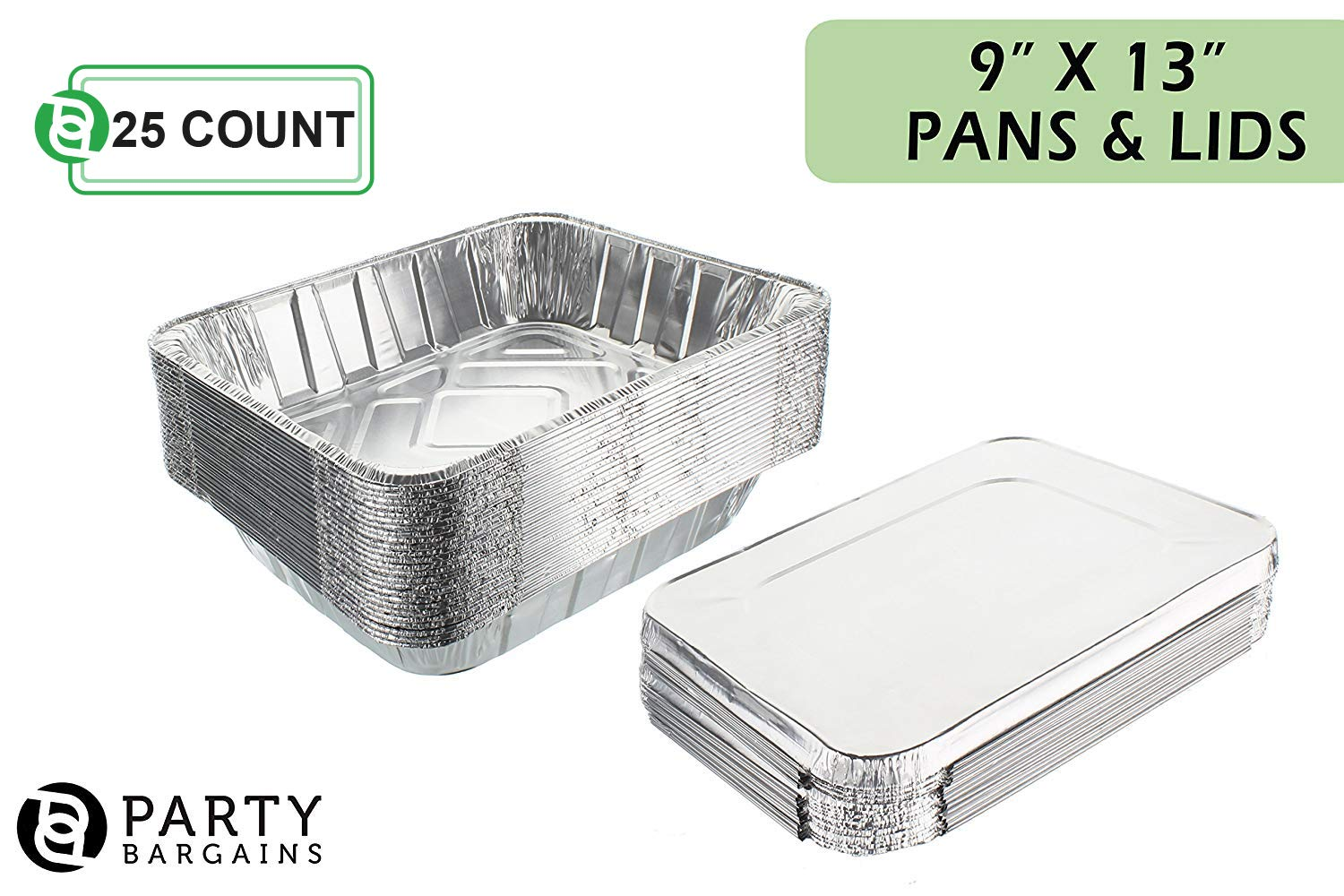 Aluminum Foil Pans   Disposable Pan Containers with Lids Set   Excellent for Broiling, Roasting, Grilling, Baking Cakes, Pies, Lasagna, More   9 x 13 Half Size Deep Steam Table Pans   25 Count by Party Bargains (Image #2)
