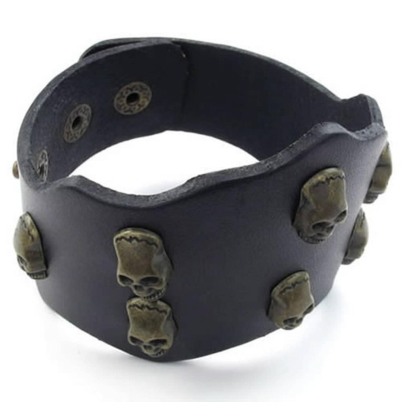 ANAZOZ Black Mens Leather Cuff Bangle Bracelet