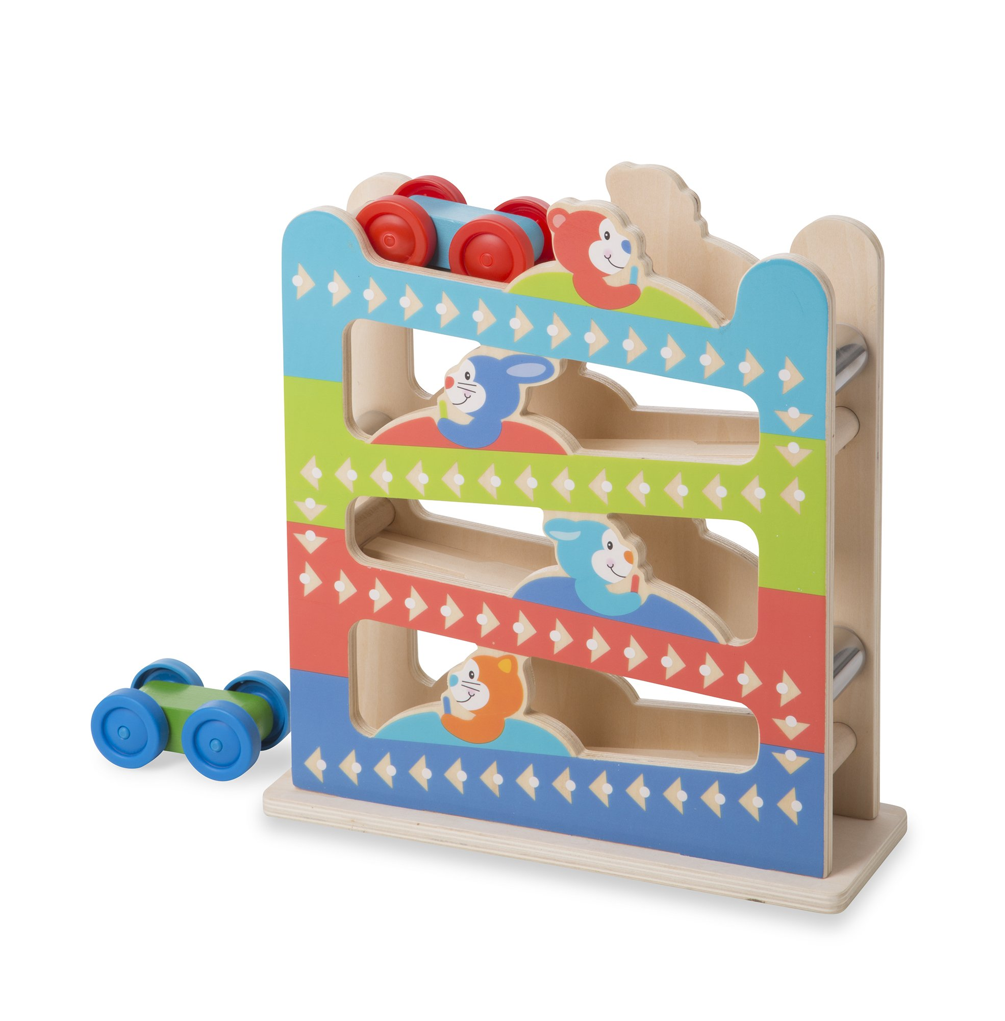 Melissa & Doug First Play Roll & Ring Ramp Tower 2 Wooden Cars, Multicolor