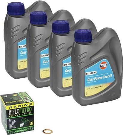 Gulf Power Trac 10w 40 Ölwechsel Set Suzuki Bandit 600 Gsf 600 Bj 95 04 Motoröl Hiflo Racing Ölfilter Und Dichtring Auto