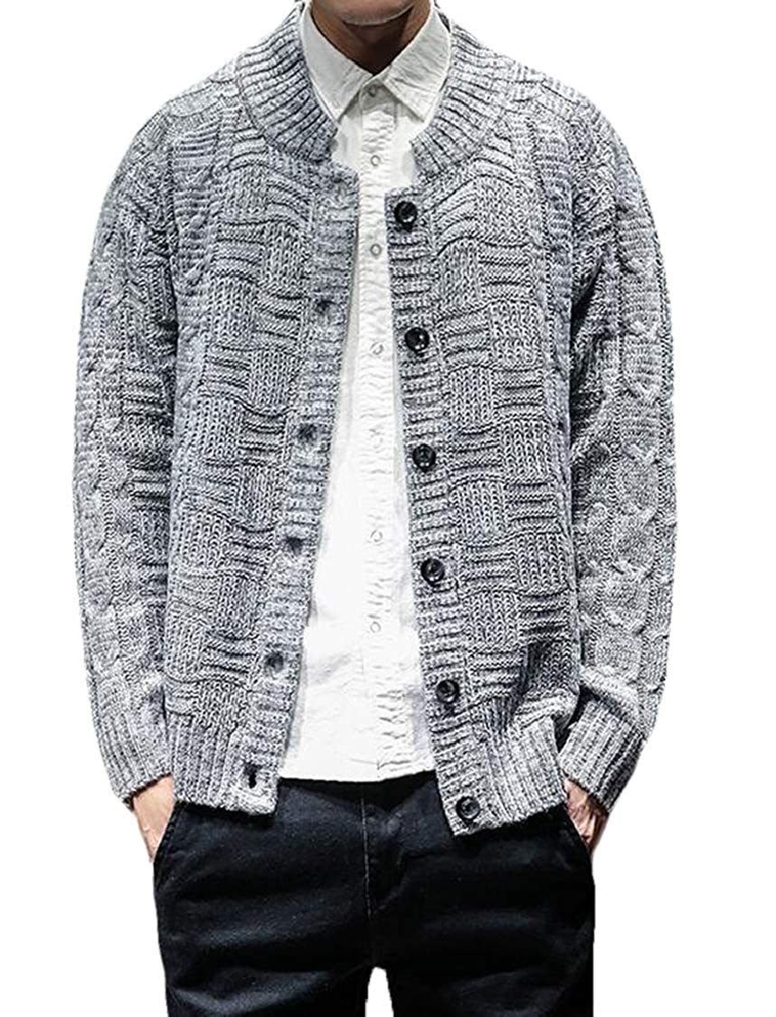 SELX Men Casual Button Down Solid Long Sleeves Wool Knit Cardigan Sweaters