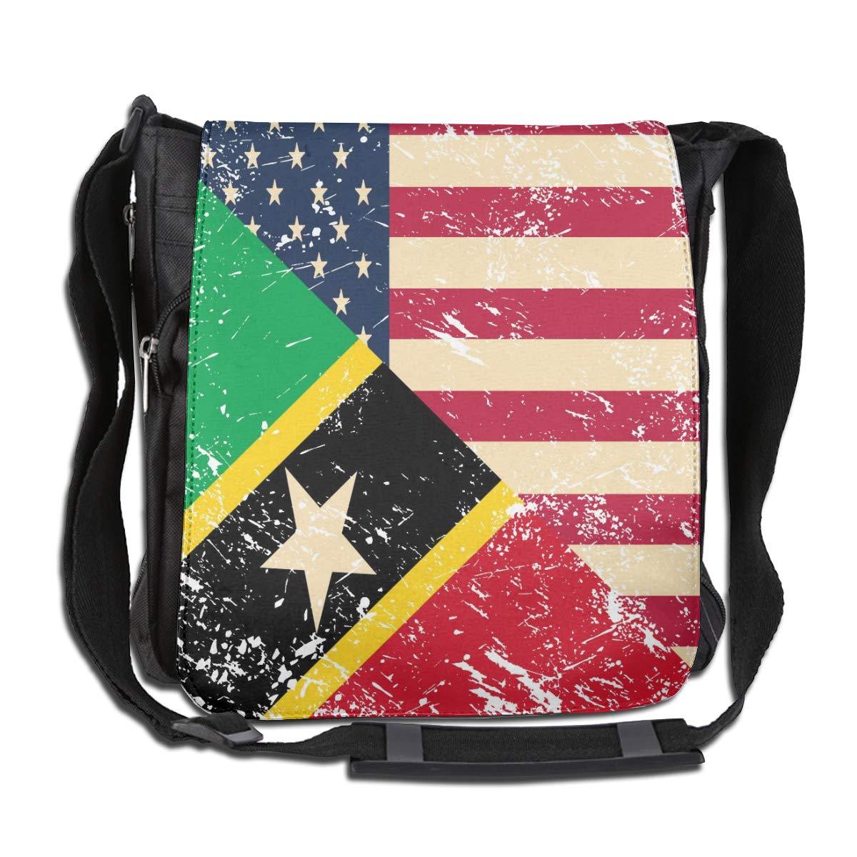 Unisex Fashion Satchel Messenger Bags American And Nevis Retro Flag2 Crossbody Shoulder Bag Traveling Bag For School//Work//Trips