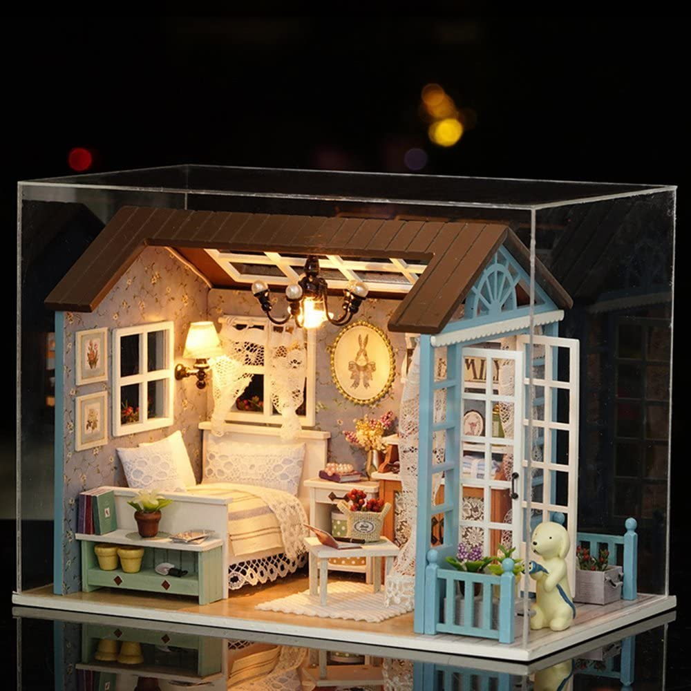 Flever Dollhouse Miniature DIY House Kit Creative Room with Furniture for Romantic Gift (Forest Time(Plus Dust Proof and Music Box))