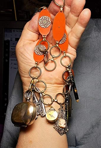 Scissors Clock Compass Mother Badge Pencil WOMAN of the House CHATELAINE Cameo in Edwardian Victorian Farm House Skelton Key Dance Purse
