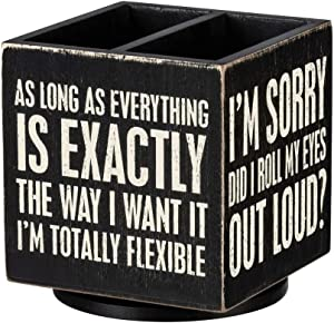 I'll Remember It Later Wooden Box Sign Style Pencil Holder in Black