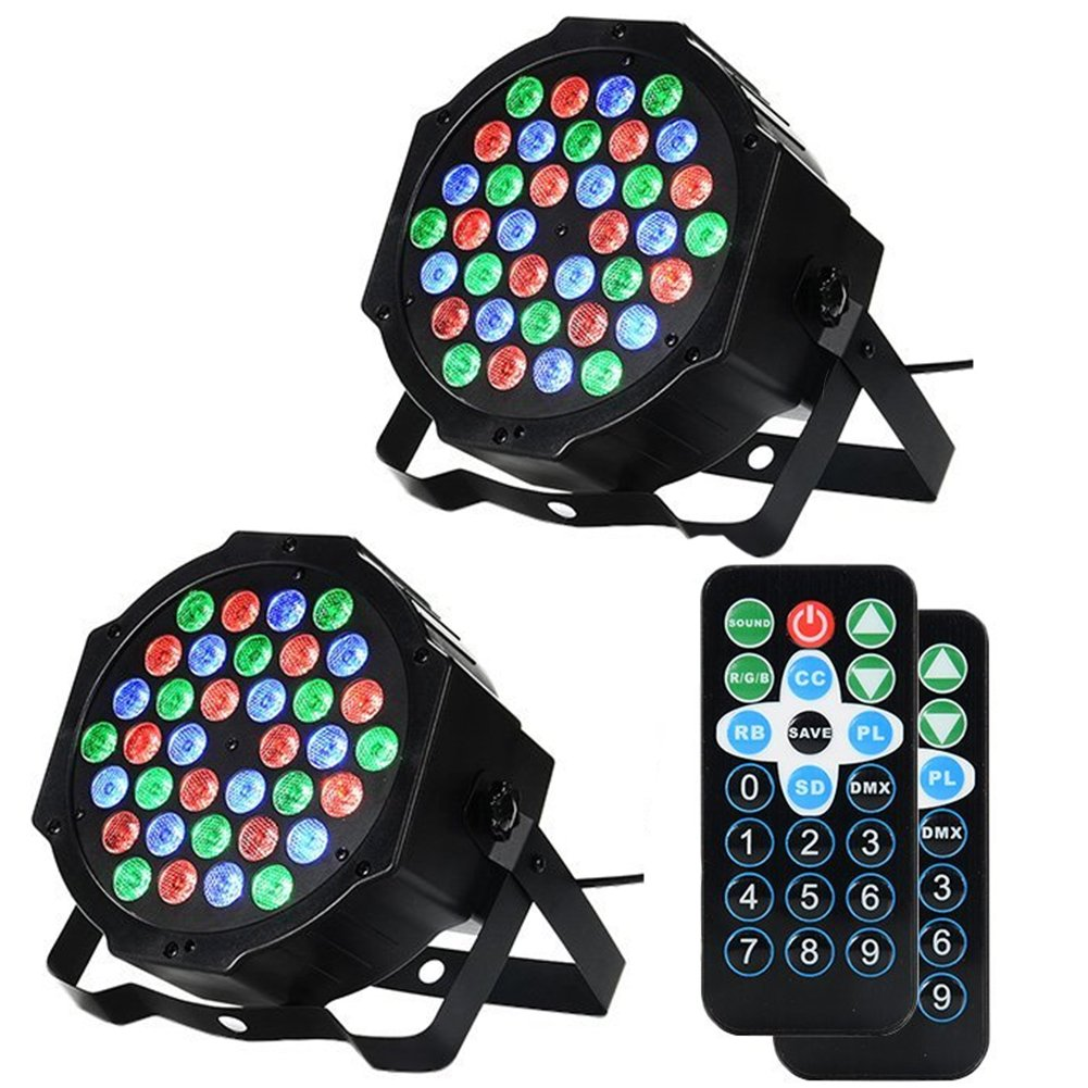 LUNSY DJ Par Lights, 36LEDs Stage Lighting Par Can Controlled by Remoter and DMX Control - 2 Pack by LUNSY