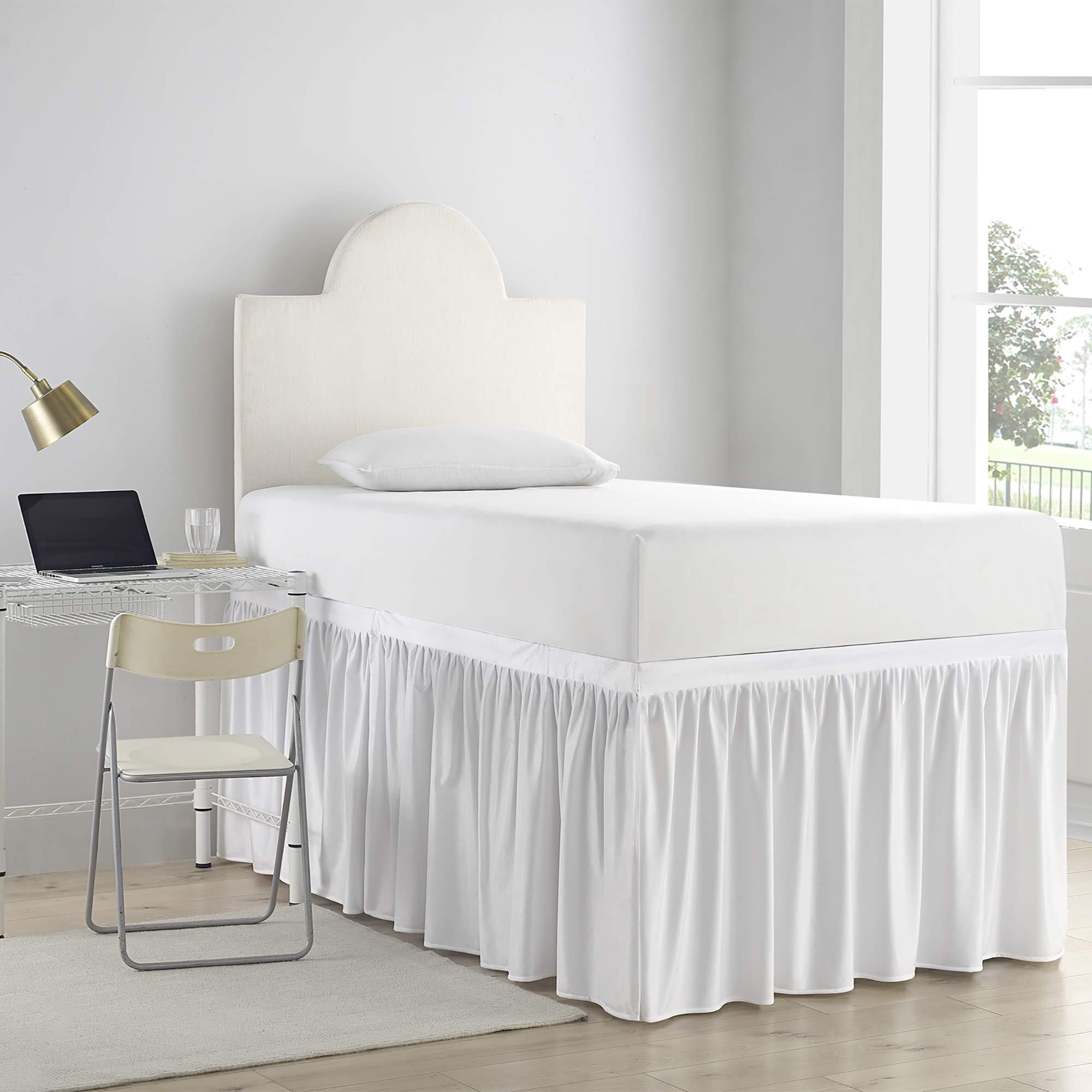 DormCo Bed Skirt Twin XL (3 Panel Set) - White