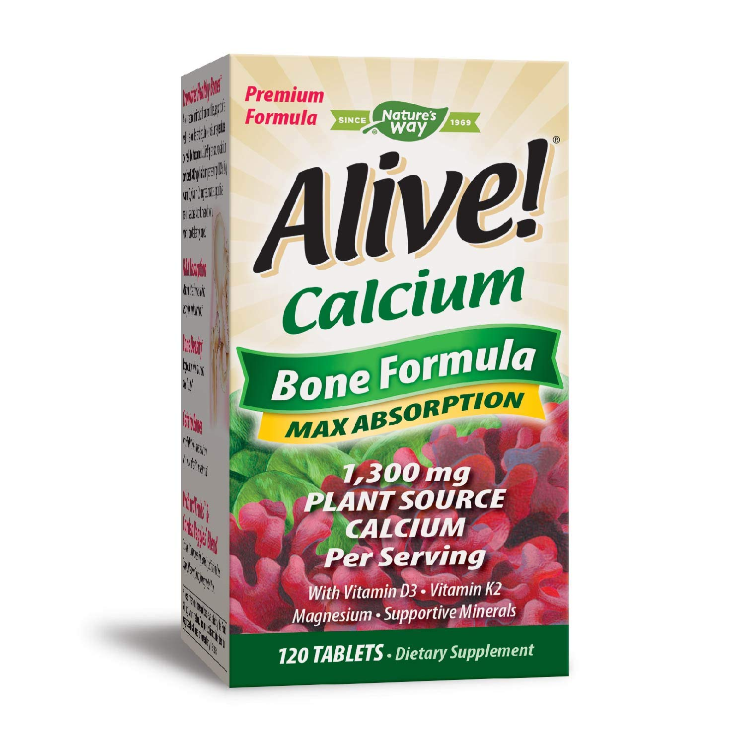 Natures Way Alive Calcium Bone Formula Supplement Softgel Green World 1000mg Per Serving 120 Tablets Packaging May Vary Health Personal Care