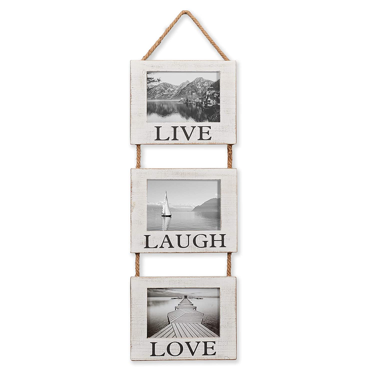 "Barnyard Designs Rustic Hanging Picture Frame Set, Featuring 'Live', 'Laugh' and 'Love', Farmhouse Country Photo Frame Decor Set - (3) 5"" x 7"" Frames on Hanging Rope, 27"" x 9.5"""