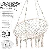 Ohuhu Hamaca Colgante Columpio con Silla Colgante Kit de Montaje para Colgar, Duradero, Fabricado con Cuerda de algodón…