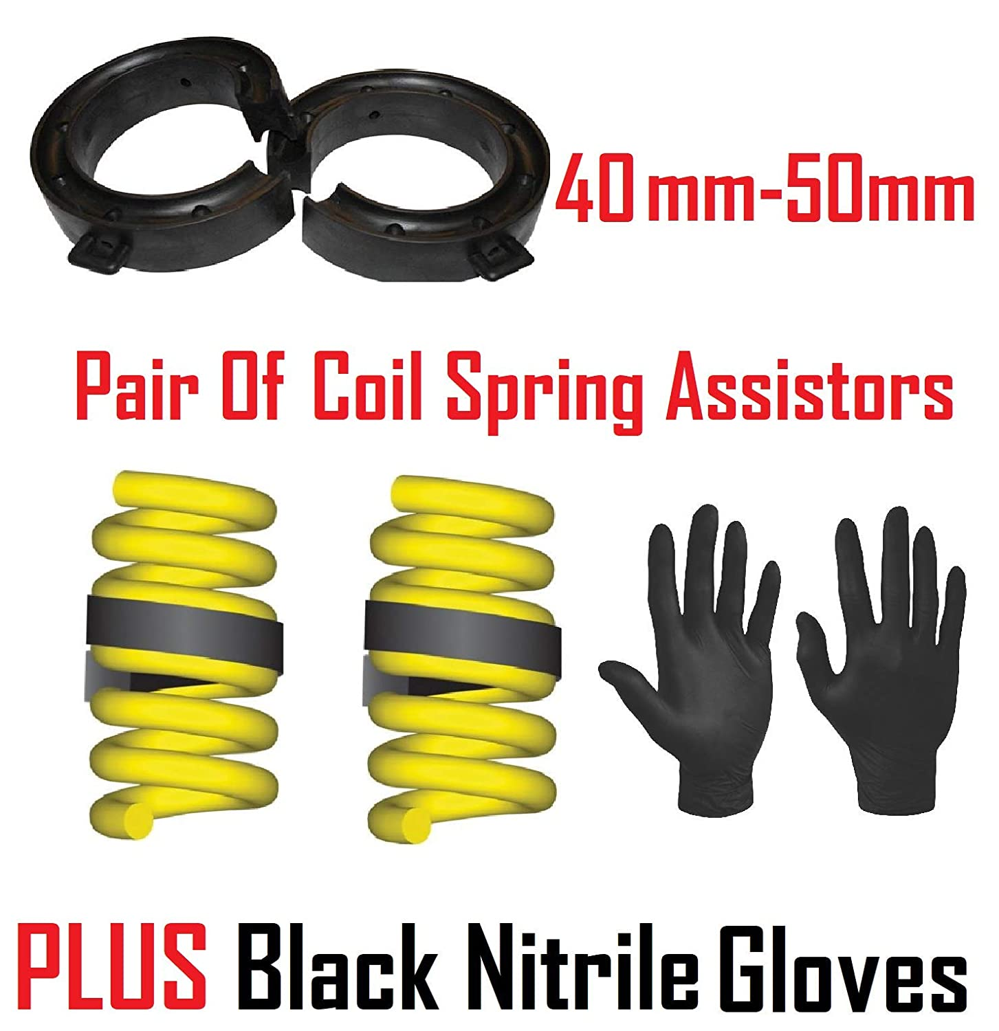 /& Black Nitrile Gloves SW Pair Of Car Coil Spring Assister Kit For Springs With 40-50mm Gap