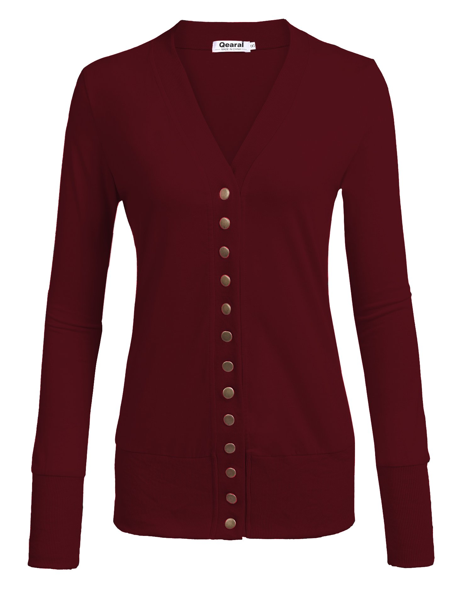 Qearal Womens V Neck Button Down Long Sleeve Soft Knit Snap Cardigans (S-2X) by Qearal