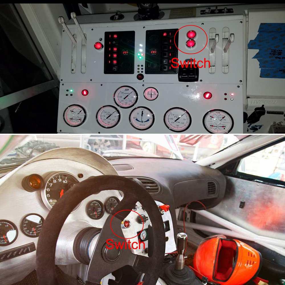 Jtron Dc 12v 50a Red Light Push Start Ignition Switch Meter Wiring Diagram In Addition Button For Racing Sport Off On Momentary Automotive