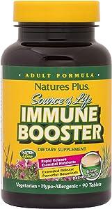 NaturesPlus Source of Life Immune Booster Adult Formula, Rapid & Extended Release - 90 Vegetarian Tablets - Natural Immunity Booster Supplement - Vitamins A, C, E & Zinc - Gluten-Free - 30 Servings