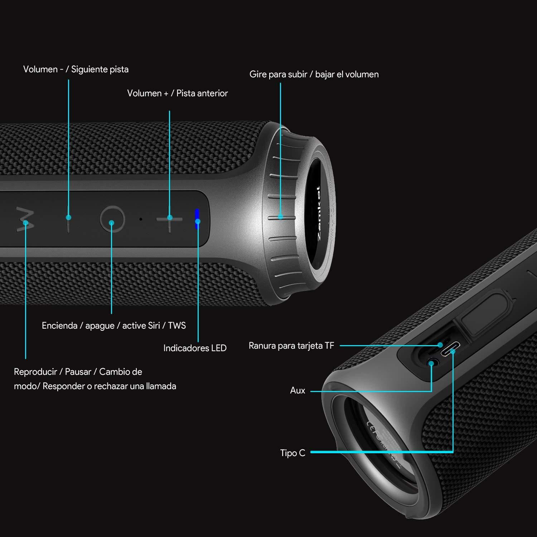 Altavoz Bluetooth Impermeable IPX6 Sonido Est/éreo TWS Bluetooth 5.0 10-12 Horas de Reproducci/ón Zamkol 30W Altavoz Inalambricos Portatiles Sonido Est/éreo de 360 Grados y X-Bass Mejorado
