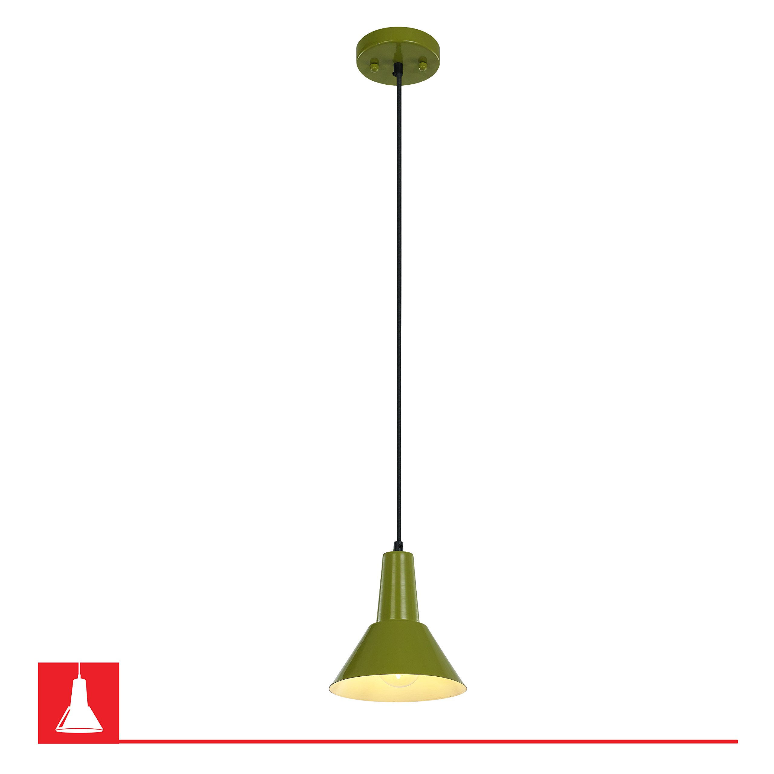 """Danbury Pendant Fixture, Steel Shade with Textile Cord – Lime Green, 7"""" X 7"""""""
