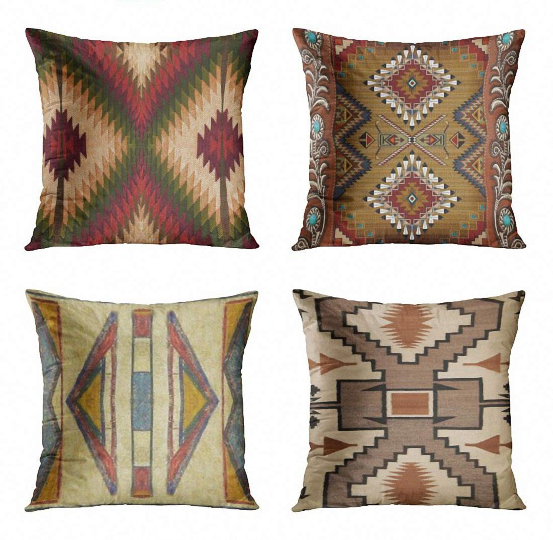 ArtSocket Set of 4 Throw Pillow Covers Tribal Western Geometric Burgundy Green Endless Native Designs Southwest Country Benson Decorative Pillow Cases Home Decor Square 18x18 Inches Pillowcases
