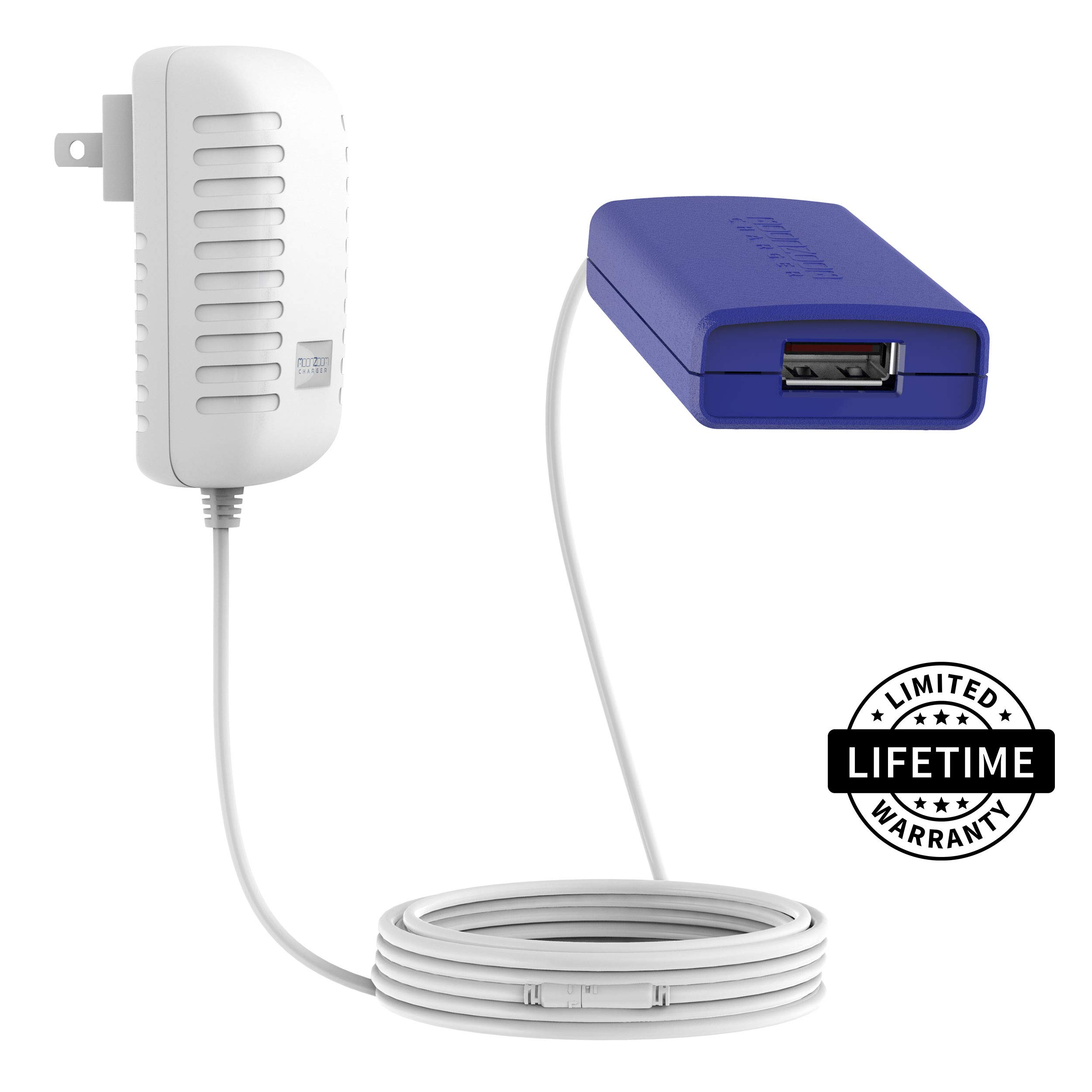 MOONZOOM USB Wall Charger w Long, Extendable Charging Cable 10ft/15ft/25ft/30ft, World's Longest Fast-Charge Cord, Compatible w iPhone X/8/7/6/5 Plus, iPad, Samsung S5-S10, Tablet 20ft Lightning More by MOONZOOM