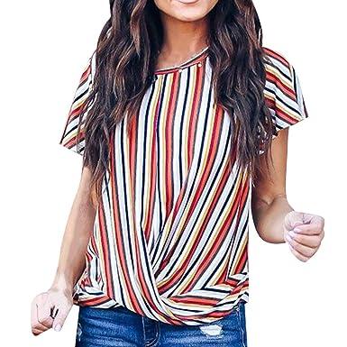1a6b5f7fa68 Amazon.com  Fashion Womens Rainbow Striped T Shirt