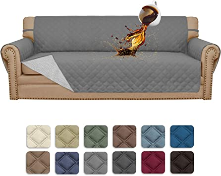 Brown Sofa Cover Reversible 3 Seat Sofa Slipcover Waterproof Sofa Couch Cover US