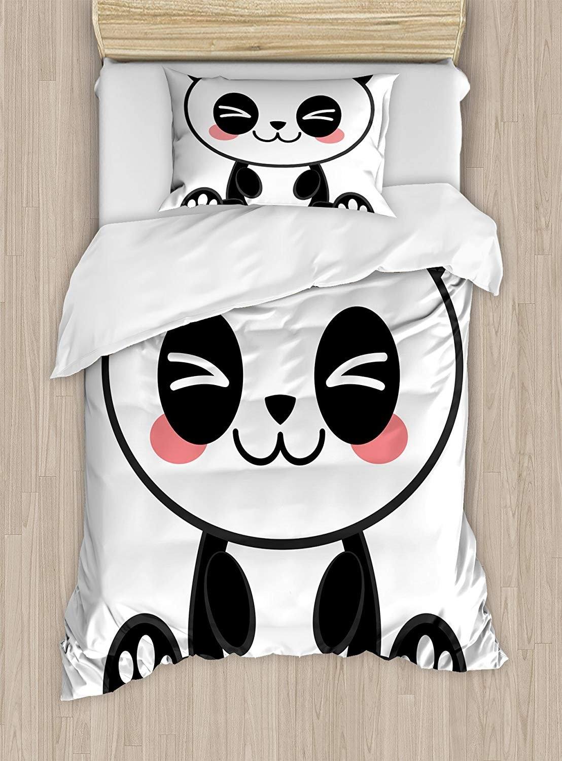 Twin XL Extra Long Bedding Set, Anime Duvet Cover Set, Cute Cartoon Smiling Panda Fun Animal Theme Japanese Manga Kids Teen Art Print, Cosy House Collection 4 Piece Bedding Sets